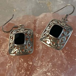 Vintage Sterling and Onyx Earrings